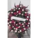 Corona funeraria redonda tonos rosas